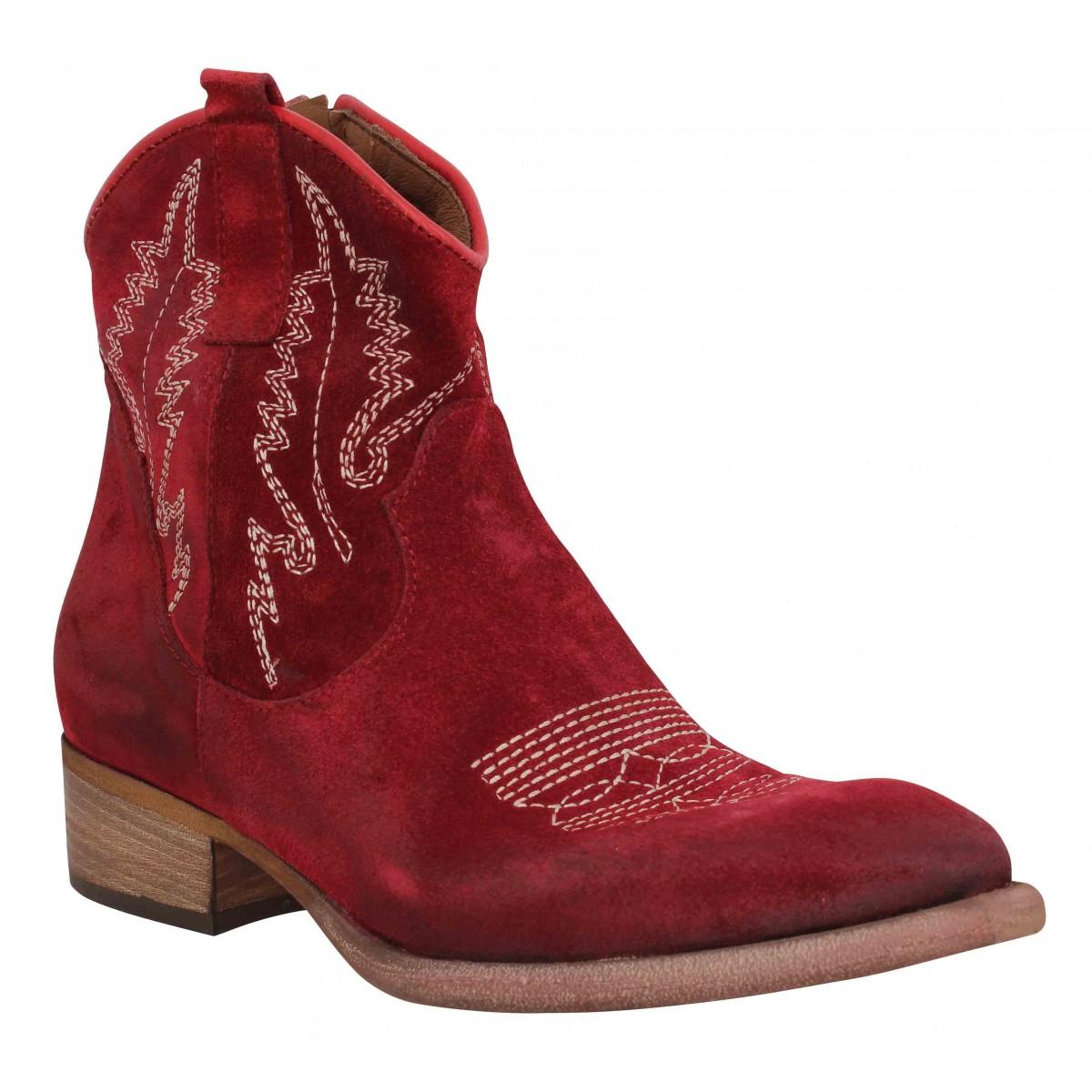 Bottines ZOE New Tex Ric velours Femme Rosso