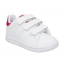 Adidas stan smith cursive logo cuir enfant blanc rose enfants ...