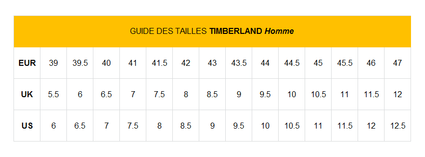 guide taille timberland homme