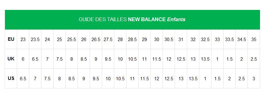 basket new balance taille